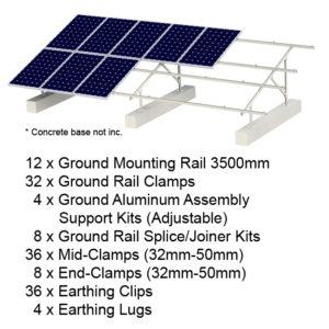 Ground Mounting 20 Panels Kits (Concrete base not inc.)